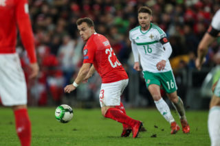 BASEL, SWITZERLAND - NOVEMBER 12: Xherdan Shaqiri of Switzerland during the FIFA 2018 World Cup Qualifier Play-Off: Second Leg between Switzerland and Northern Ireland at St. Jakob-Park on November 12, 2017 in Basel, Basel-Stadt. (Photo by Robbie Jay Barratt - AMA/Getty Images)