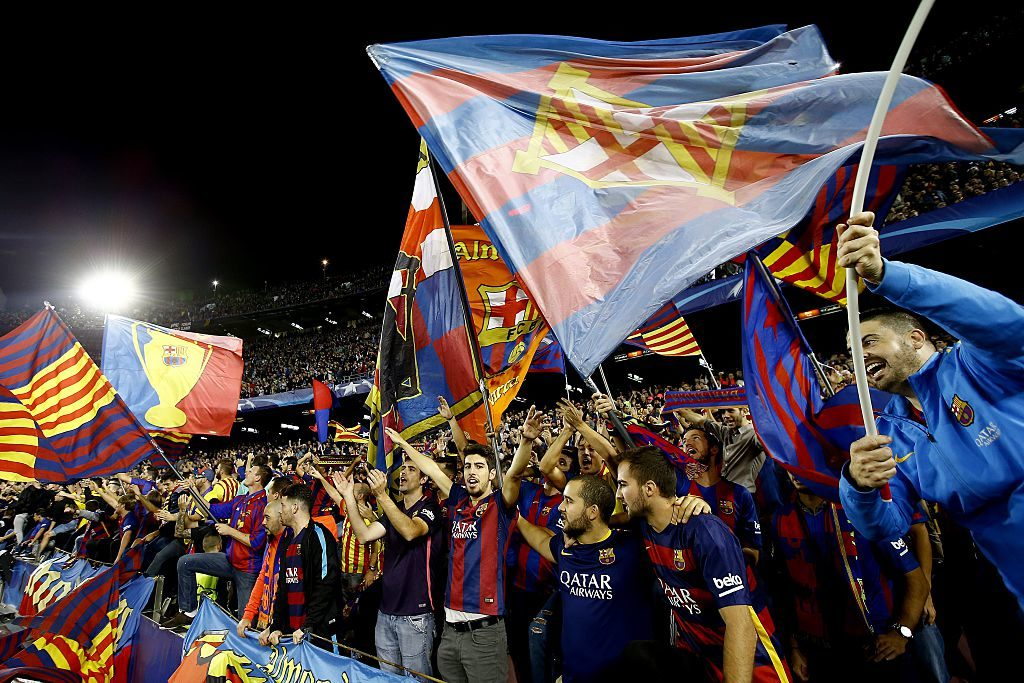 fans, flags Barcelonaduring the UEFA Champions League group C match between FC Barcelona and Manchester City on October 19, 2016 at the Camp Nou stadium in Barcelona, Spain.(Photo by VI Images via Getty Images)
