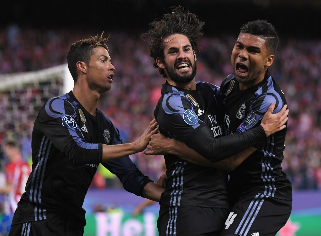 during the UEFA Champions League Semi Final second leg match between Club Atletico de Madrid and Real Madrid CF at Vicente Calderon Stadium on May 10, 2017 in Madrid, Spain.