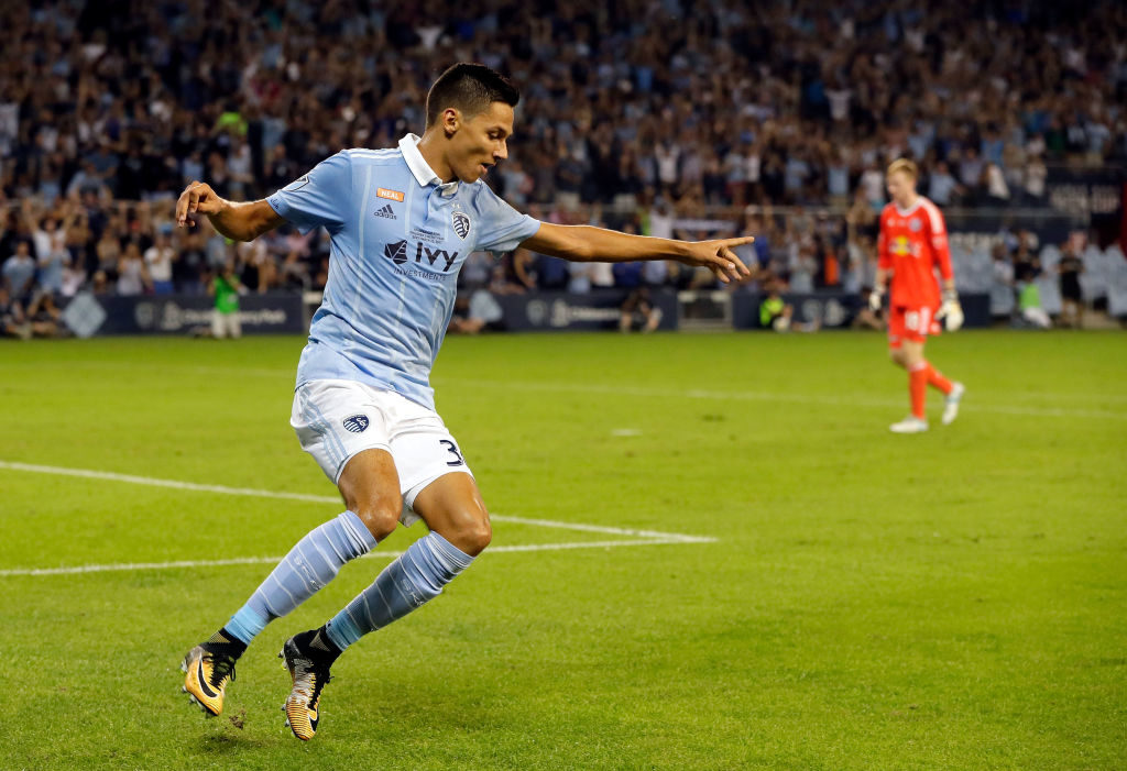 KANSAS CITY, KS - SEPTEMBER 20:  Daniel Salloi #30 of Sporting Kansas City celebrates after scoring during the 2017 U.S Open Cup Final against the New York Red Bulls at Children's Mercy Park on September 20, 2017 in Kansas City, Kansas.  (Photo by Jamie Squire/Getty Images)