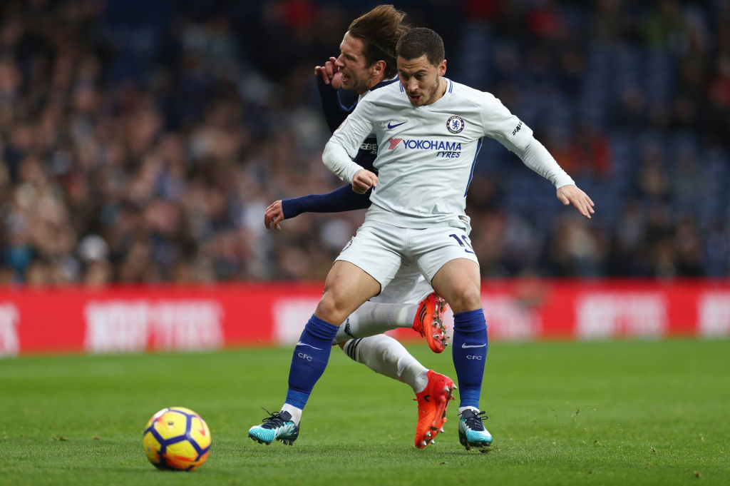 WEST BROMWICH, ENGLAND - NOVEMBER 18:  Eden Hazard of Chelsea controls the ball under pressure of Grzegorz Krychowiak of West Bromwich Albion during the Premier League match between West Bromwich Albion and Chelsea at The Hawthorns on November 18, 2017 in West Bromwich, England.  (Photo by Catherine Ivill/Getty Images)