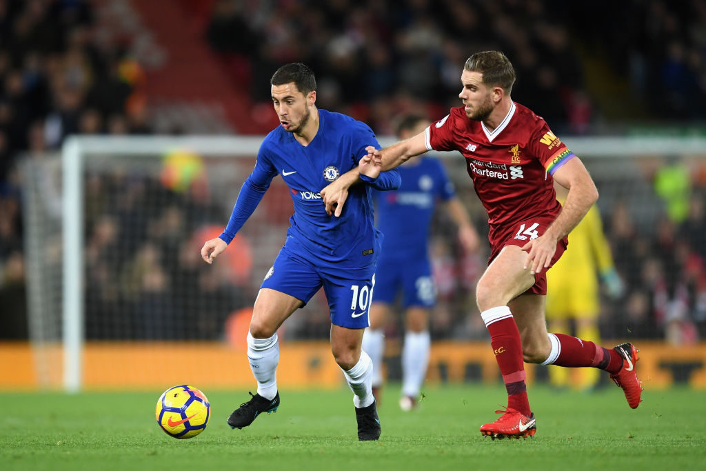 LIVERPOOL, ENGLAND - NOVEMBER 25:  Eden Hazard of Chelsea and Jordan Henderson of Liverpool battle for possession during the Premier League match between Liverpool and Chelsea at Anfield on November 25, 2017 in Liverpool, England.  (Photo by Shaun Botterill/Getty Images)