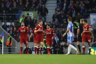 during the Premier League match between Brighton and Hove Albion and Liverpool at Amex Stadium on December 2, 2017 in Brighton, England.