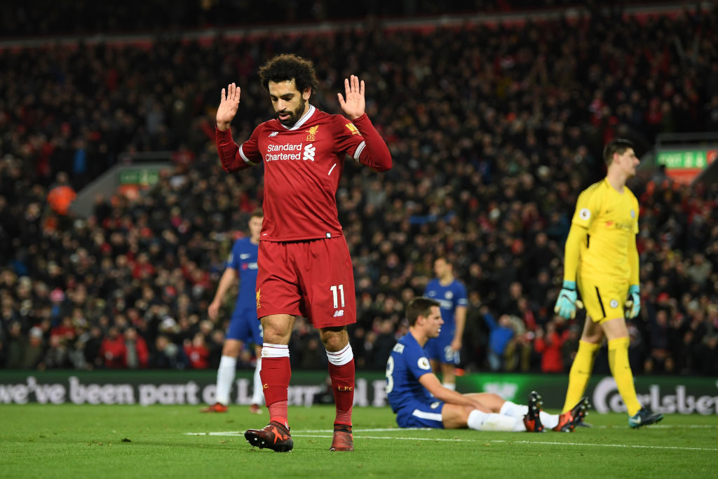 LIVERPOOL, ENGLAND - NOVEMBER 25:  Mohamed Salah of Liverpool celebrates scoring his sides first goal during the Premier League match between Liverpool and Chelsea at Anfield on November 25, 2017 in Liverpool, England.  (Photo by Shaun Botterill/Getty Images)
