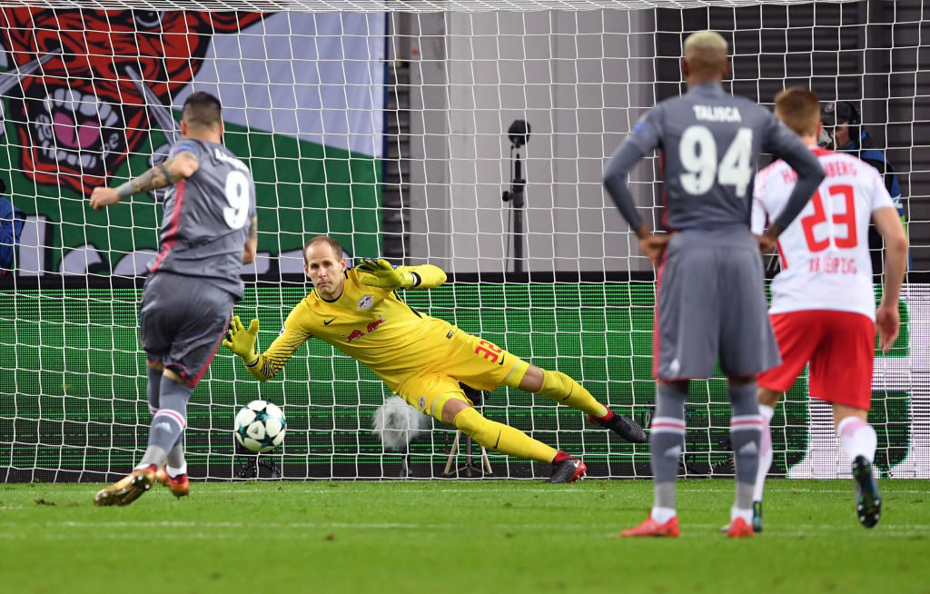 LEIPZIG, GERMANY - DECEMBER 06: Alvaro Negredo of Besiktas scores his sides first goal from the penalty spot during the UEFA Champions League group G match between RB Leipzig and Besiktas at Red Bull Arena on December 6, 2017 in Leipzig, Germany.  (Photo by Stuart Franklin/Bongarts/Getty Images)