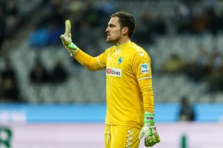 MUNICH, GERMANY - JANUARY 27: Goalkeeper Balazs Megyeri of Greuther Fuerth gestures during the Second Bandesliga match between TSV 1860 Muenchen and SpVgg Greuther Fuerth at Allianz Arena on January 27, 2017 in Munich, Germany. (Photo by TF-Images/Getty Images)