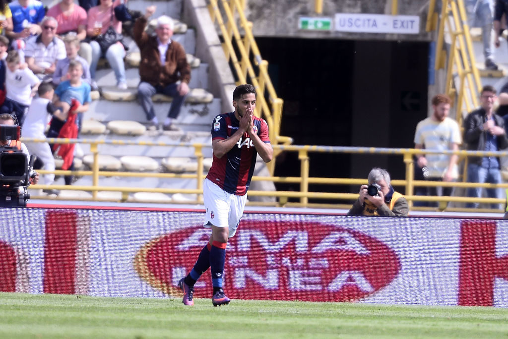BOLOGNA, ITALY - APRIL 30:  Saphir Taider # 8 of Bologna FC celebrates after scoring his team's second goal during the Serie A match between Bologna FC and Udinese Calcio at Stadio Renato Dall'Ara on April 30, 2017 in Bologna, Italy.  (Photo by Mario Carlini / Iguana Press/Getty Images)