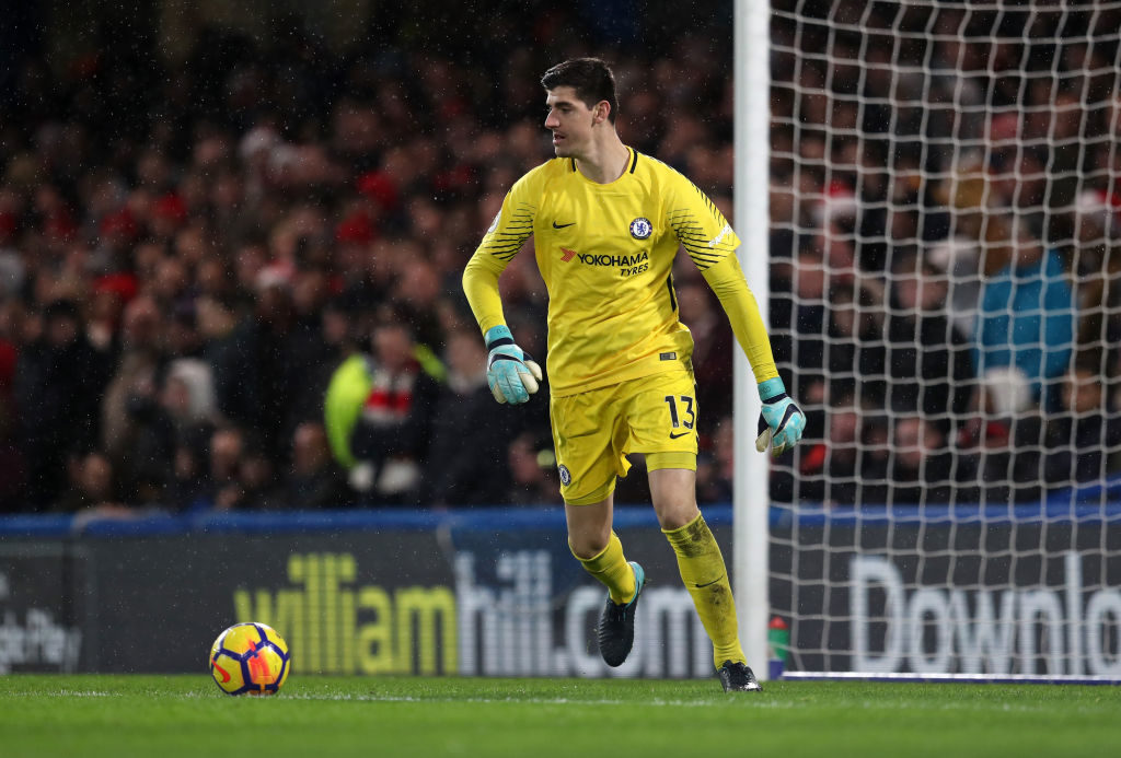 LONDON, ENGLAND - DECEMBER 16: Chelsea goalkeeper Thibaut Courtois  during the Premier League match between Chelsea and Southampton at Stamford Bridge on December 16, 2017 in London, England. (Photo by Catherine Ivill/Getty Images)