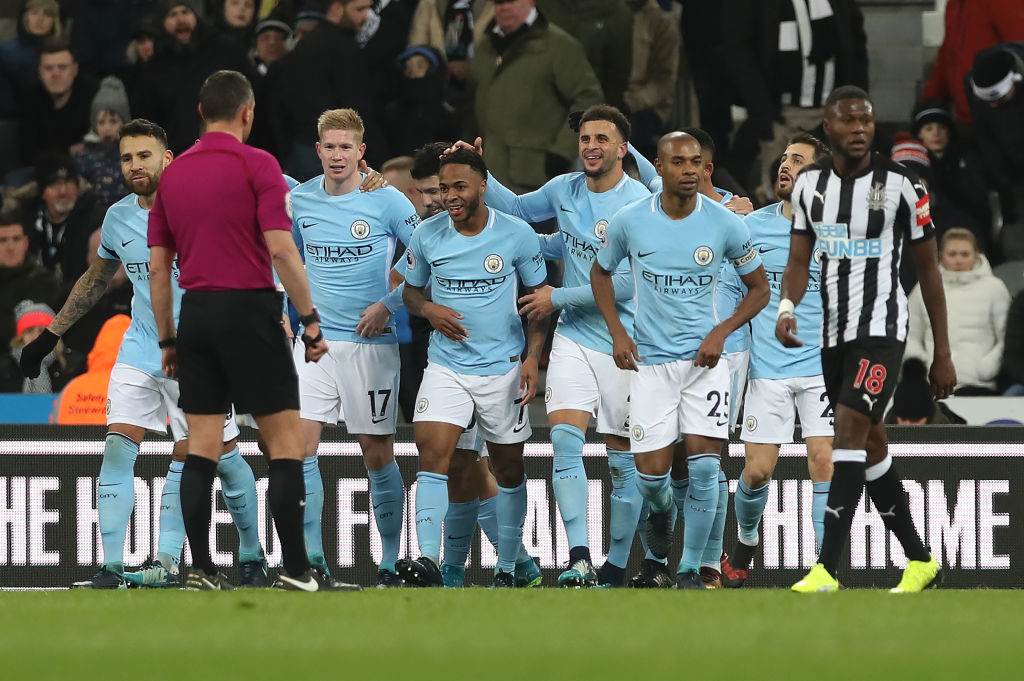NEWCASTLE UPON TYNE, ENGLAND - DECEMBER 27: Raheem Sterling of Manchester City celebrates after scoring the opening goal during the Premier League match between Newcastle United and Manchester City at St. James Park on December 27, 2017 in Newcastle upon Tyne, England. (Photo by Ian MacNicol/Getty Images)