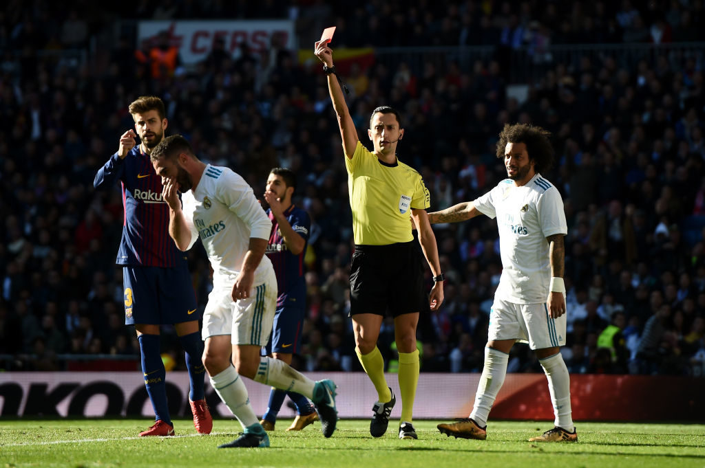during the La Liga match between Real Madrid and Barcelona at Estadio Santiago Bernabeu on December 23, 2017 in Madrid, Spain.