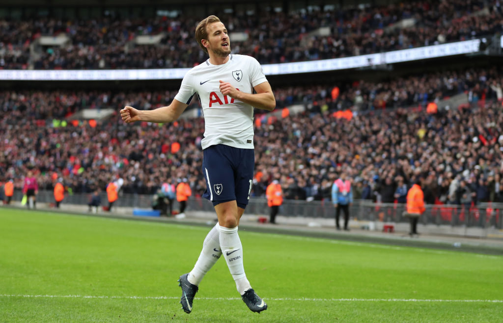 LONDON, ENGLAND - DECEMBER 26: Harry Kane of Tottenham Hotspur celebrates after scoring his hat-trick goal to make it 5-1 during the Premier League match between Tottenham Hotspur and Southampton at Wembley Stadium on December 26, 2017 in London, England. (Photo by Catherine Ivill/Getty Images)