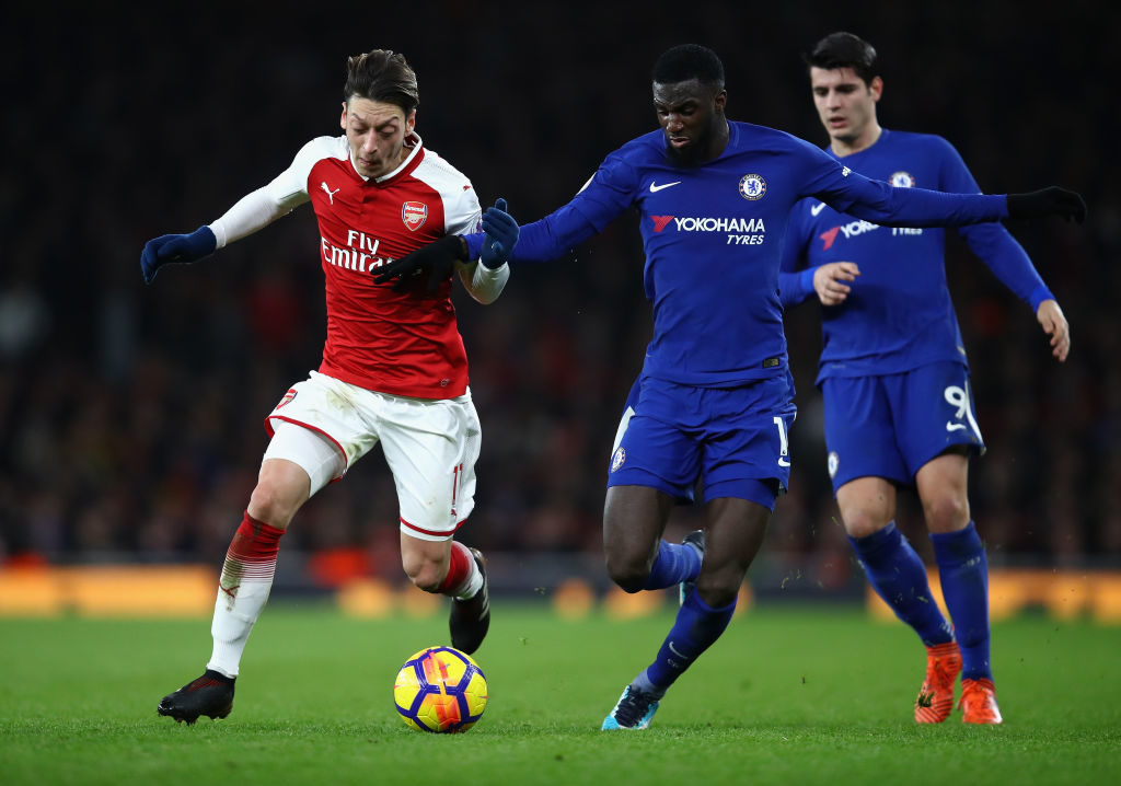 during the Premier League match between Arsenal and Chelsea at Emirates Stadium on January 3, 2018 in London, England.