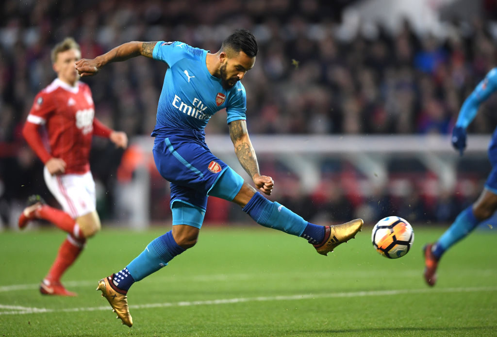 NOTTINGHAM, ENGLAND - JANUARY 07:  Theo Walcott of Arsenal shoots and misses during The Emirates FA Cup Third Round match between Nottingham Forest and Arsenal at City Ground on January 7, 2018 in Nottingham, England.  (Photo by Laurence Griffiths/Getty Images)