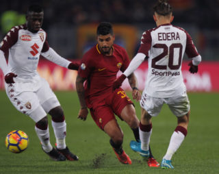 ROME, ITALY - DECEMBER 20:  Emerson Palmieri (C) of AS Roma competes for the ball with Simone Edera and Ebenezer Acquah of Torino FC during the TIM Cup match between AS Roma and Torino FC at Olimpico Stadium on December 20, 2017 in Rome, Italy.  (Photo by Paolo Bruno/Getty Images)