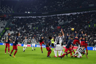 TURIN, ITALY - JANUARY 22: Miralem Pjanic of Juventus takes a free kick during the Serie A match between Juventus and Genoa CFC at Allianz Stadium on January 22, 2018 in Turin, Italy.  (Photo by Chris Brunskill Ltd/Getty Images)