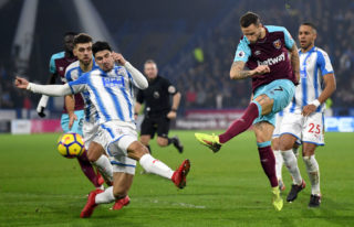 during the Premier League match between Huddersfield Town and West Ham United at John Smith's Stadium on January 13, 2018 in Huddersfield, England.