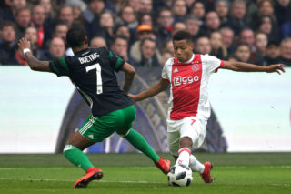 AMSTERDAM,  - JANUARY 21: David Neres of Ajax  during the Dutch Eredivisie  match between Ajax v Feyenoord at the Johan Cruijff Arena on January 21, 2018 in Amsterdam  (Photo by Peter Lous/Soccrates/Getty Images)
