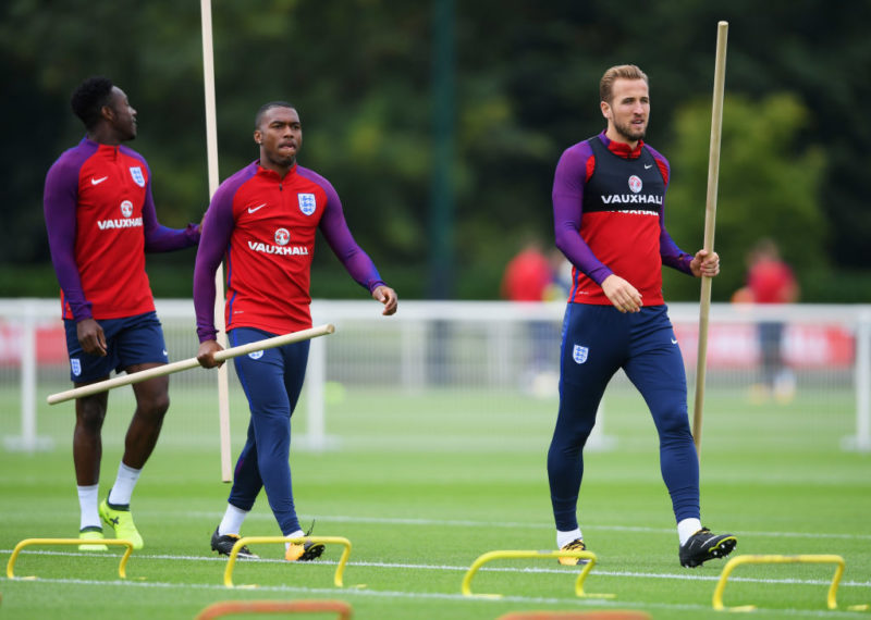 ENFIELD, ENGLAND - SEPTEMBER 03:  Daniel Sturridge and Harry Kane of England walk on the pitch during an England training session on the eve of their World Cup qualifier against Slovakia at Tottenham Hotspur FC Training Ground on September 3, 2017 in Enfield, England.  (Photo by Mike Hewitt/Getty Images)