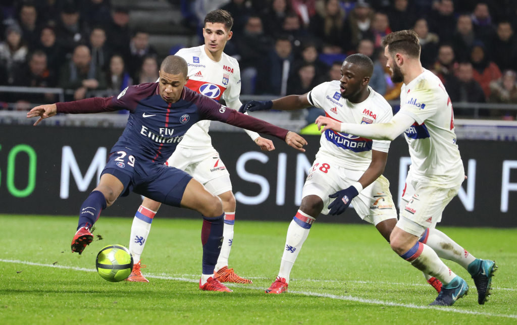 LYON, FRANCE - JANUARY 21:  Kylian Mbappe of Paris Saint-Germain in action during the Ligue 1 match between Olympique Lyonnais and Paris Saint Germain (PSG) at Parc OL on January 21, 2018 in Lyon, France.  (Photo by Xavier Laine/Getty Images)