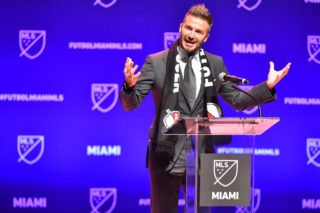 MIAMI, FL - JANUARY 29: David Beckham addresses the crowd during the press conference announcing an MLS franchise in Miami at the Knight Concert Hall on January 29, 2018 in Miami, Florida. (Photo by Eric Espada/Getty Images)