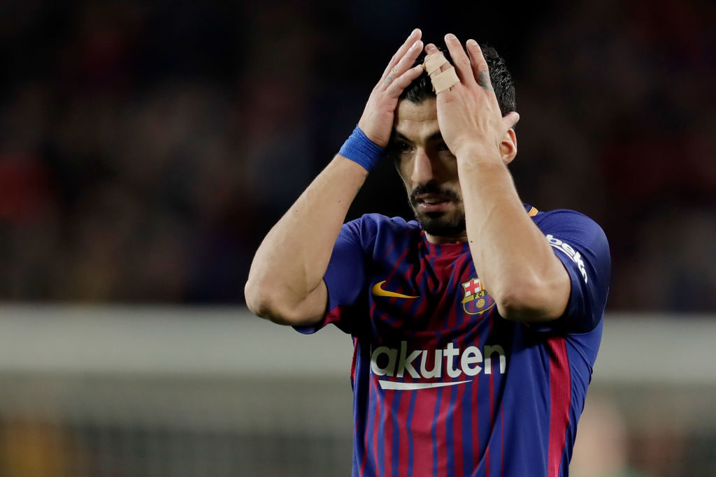 BARCELONA, SPAIN - JANUARY 28: Luis Suarez of FC Barcelona during the La Liga Santander  match between FC Barcelona v Deportivo Alaves at the Camp Nou on January 28, 2018 in Barcelona Spain (Photo by Laurens Lindhout/Soccrates/Getty Images)