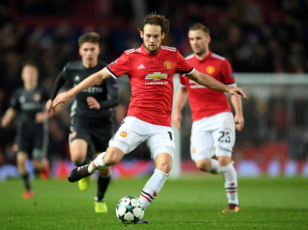 MANCHESTER, ENGLAND - DECEMBER 05: Daley Blind of Manchester United passes the ball during the UEFA Champions League group A match between Manchester United and CSKA Moskva at Old Trafford on December 5, 2017 in Manchester, United Kingdom.  (Photo by Laurence Griffiths/Getty Images)