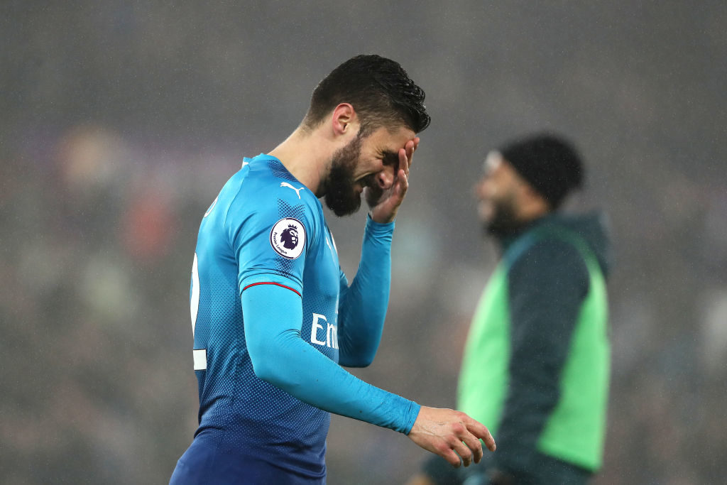SWANSEA, WALES - JANUARY 30:  Olivier Giroud of Arsenal reacts at the end of the Premier League match between Swansea City and Arsenal at Liberty Stadium on January 30, 2018 in Swansea, Wales.  (Photo by Matthew Ashton - AMA/Getty Images)