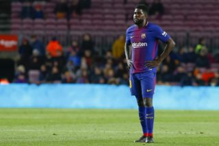Barcelona defender Samuel Umtiti (23) during the match between FC Barcelona vs Valencia, of the Spanish King's Cup Semi Final, played at Camp Nou Stadium on 1th  February 2018 in Barcelona. (Photo by Urbanandsport/NurPhoto)