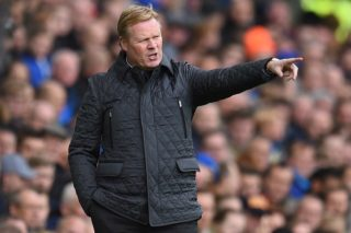 (FILES) In this file photo taken on October 22, 2017 Everton's Dutch manager Ronald Koeman gestures from the touchline during the English Premier League football match between Everton and Arsenal at Goodison Park in Liverpool, north west England.  Dutch former star player Ronald Koeman was on February 6, 2018 anointed coach of the national team, given the Herculean task of restoring the country's pride after a series of humiliating defeats. / AFP PHOTO / Oli SCARFF / RESTRICTED TO EDITORIAL USE. No use with unauthorized audio, video, data, fixture lists, club/league logos or 'live' services. Online in-match use limited to 75 images, no video emulation. No use in betting, games or single club/league/player publications.  /