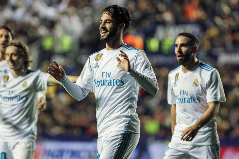Real Madrid´s player Isco celebrating a goal during La Liga match between Levante and Real Madrid at the Ciudad de Valencia stadium in Valencia, Saturday, Feb. 03th 2018. Photo Irina R. H. / AFP7 / DPPI