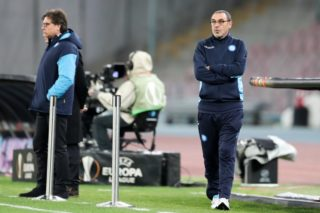 Naples' coach Maurizio Sarri stands on the sideline  during  the UEFA Europa League soccer match SSC Naples vs RB Leipzig in Naples, Italy, 15 February 2018. Photo: Jan Woitas/dpa-Zentralbild/dpa