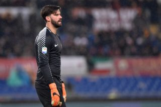 Alisson Becker of Roma during the Serie A match between Roma and AC Milan at Olympic Stadium, Roma, Italy on 25 February 2018.  (Photo by Giuseppe Maffia/NurPhoto)