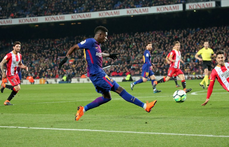 Ousmane Dembele during the match between FC Barcelona and Girona FC, for the round 25 of the Liga Santander, played at the Camp Nou Stadium on 25th February 2018 in Barcelona, Spain.    -- (Photo by Urbanandsport/NurPhoto)