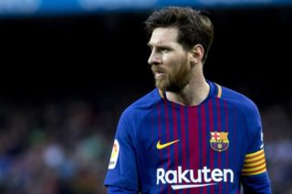 Barcelona's Argentinian forward Lionel Messi is seen during the Spanish football league match between FC Barcelona and Atletico de Madrid at the Camp Nou Stadium in Barcelona, Catalonia, Spain on March 4, 2018.