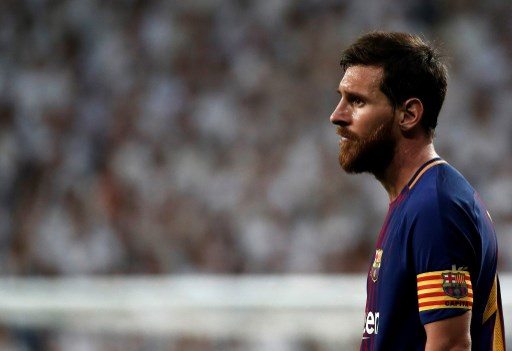 MADRID, SPAIN - AUGUST 16: Lionel Messi of Barcelona in action during the Spanish Super Cup return match between Real Madrid and Barcelona at Santiago Bernabeu Stadium in Madrid, Spain on August 16, 2017.   Burak Akbulut / Anadolu Agency