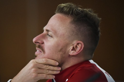 HungaryÕs forward Balazs Dzsudzsak attends to a press conference at the Luz stadium in Lisbon on March 24, 2017, on the eve of the WC 2018 qualifier football match Portugal vs Hungary.