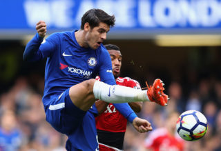 LONDON, ENGLAND - OCTOBER 21: Alvaro Morata of Chelsea and Etienne Capoue of Watford during the Premier League match between Chelsea and Watford at Stamford Bridge on October 21, 2017 in London, England.  (Photo by Richard Heathcote/Getty Images)