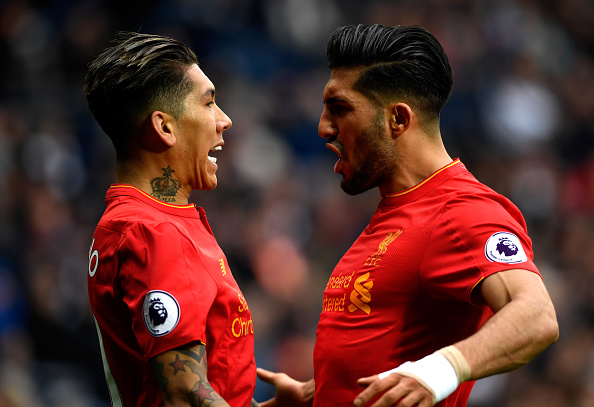 during the Premier League match between West Bromwich Albion and Liverpool at The Hawthorns on April 16, 2017 in West Bromwich, England.