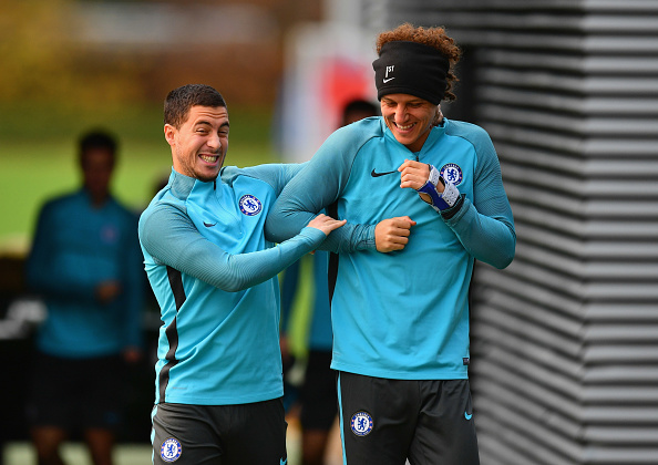 during a Chelsea training session on the eve of their UEFA Champions League match against AS Roma at Chelsea Training Ground on October 17, 2017 in Cobham, England.