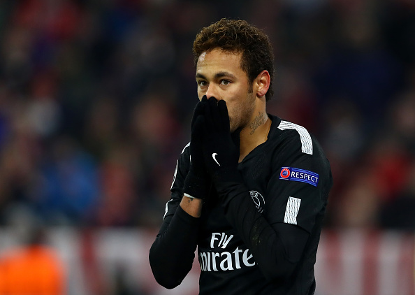 MUNICH, GERMANY - DECEMBER 05: Neymar of PSG reacts during the UEFA Champions League group B match between Bayern Muenchen and Paris Saint-Germain at Allianz Arena on December 5, 2017 in Munich, Germany.  (Photo by Alexander Hassenstein/Bongarts/Getty Images)