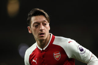 LONDON, ENGLAND - JANUARY 03:  Mesut Ozil of Arsenal in action during the Premier League match between Arsenal and Chelsea at Emirates Stadium on January 3, 2018 in London, England.  (Photo by Matthew Ashton - AMA/Getty Images)