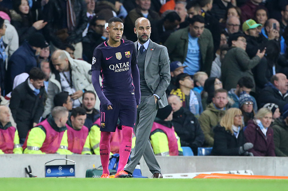 MANCHESTER, ENGLAND - NOVEMBER 1: Neymar Jr of FC Barcelona and coach of Manchester City Pep Guardiola look on during the UEFA Champions League match between Manchester City FC and FC Barcelona at Etihad Stadium on November 1, 2016 in Manchester, England. (Photo by Jean Catuffe/Getty Images)