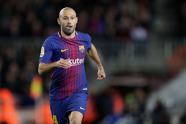BARCELONA, SPAIN - JANUARY 11: Javier Mascherano of FC Barcelona during the Spanish Copa del Rey  match between FC Barcelona v Celta de Vigo at the Camp Nou on January 11, 2018 in Barcelona Spain (Photo by Laurens Lindhout/Soccrates/Getty Images)