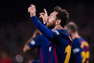 BARCELONA, SPAIN - JANUARY 25:  Lionel Messi of FC Barcelona celebrates after scoring his team's second goal during the Spanish Copa del Rey Quarter Final Second Leg match between FC Barcelona and RCD Espanyol at Camp Nou stadium at Camp Nou on January 25, 2018 in Barcelona, Spain.  (Photo by Alex Caparros/Getty Images)