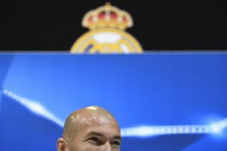 Real Madrid's French coach Zinedine Zidane gives a press conference at Valdebebas Sport City in Madrid on February 13, 2018 on the eve of the Champions' League football match against Paris Saint-Germain (PSG). / AFP PHOTO / GABRIEL BOUYS