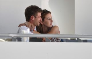 German soccer player (national team and BayernMunich) Thomas Mueller and his wife Lisa attend a dressage event of the CHIO as spectators in Aachen, Germany, 19 July 2014. Photo: UWE ANSPACH/DPA