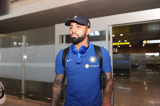 Brazilian football player Gabriel Barbosa of Inter Milan is pictured after arriving at the Nanjing Lukou International Airport for the 2017 International Champions Cup China football match in Nanjing city, east China's Jiangsu province, 19 July 2017.