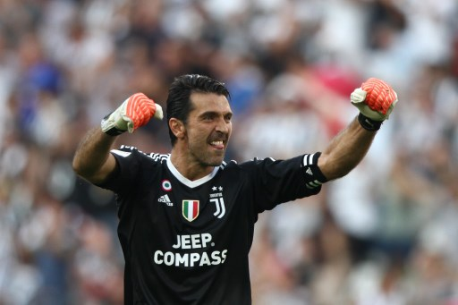 Buffon celebrates during the Serie A football match n.1 JUVENTUS - CAGLIARI on 19/08/2017 at the Allianz Stadium in Turin, Italy. (Photo by Matteo Bottanelli/NurPhoto)