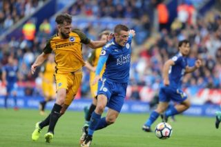 Brighton and Hove Albion midfielder Davy Propper (24) & Leicester City forward Jamie Vardy (9) during the Premier League match between Leicester City and Brighton and Hove Albion at the King Power Stadium, Leicester, England, on 19 August 2017 - Photo by Bennett Dean / ProSportsImages / DPPI