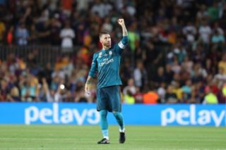 Sergio Ramos of Real Madrid celebrates at the end of the Spanish Super Cup football match between FC Barcelona and Real Madrid on August 13, 2017 at Camp Nou stadium in Barcelona, Spain. - Photo Manuel Blondeau / AOP Press / DPPI